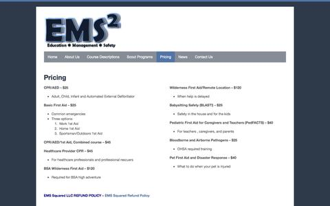 Screenshot of Pricing Page emssquared.net - Pricing - EMS Squared - captured Oct. 1, 2014