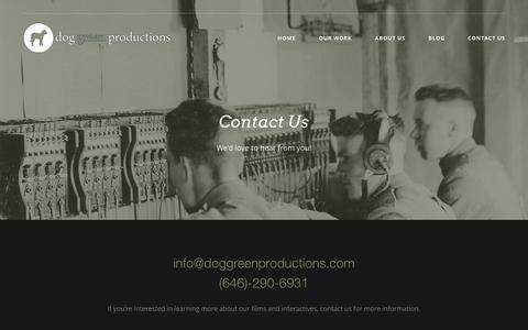 Screenshot of Contact Page doggreenproductions.com - Contact Us Č Dog Green Productions - captured Jan. 7, 2016