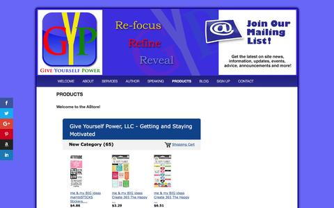 Screenshot of Products Page giveyourselfpower.com - PRODUCTS | Give Yourself Power - captured Nov. 7, 2016