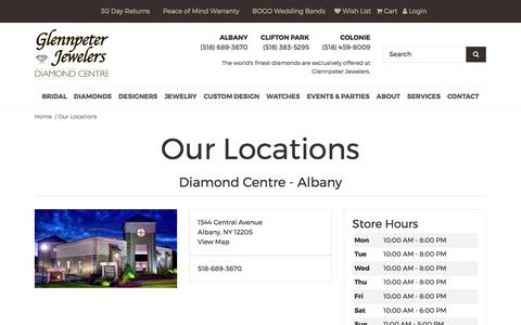 Screenshot of Locations Page glennpeterjewelers.com - Jewelry Stores - Diamond Centre - Albany , Colonie Center Mall , Diamond Centre - Clifton Park  - Glennpeter Jewelers - captured Aug. 5, 2017