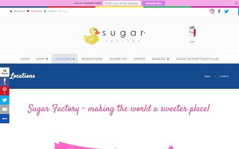 Screenshot of Locations Page sugarfactory.com - Locations - Sugar Factory - captured July 3, 2017