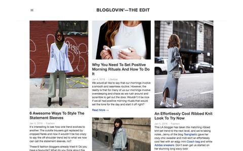 Screenshot of Blog bloglovin.com - Bloglovin'—the Edit - captured Jan. 5, 2016