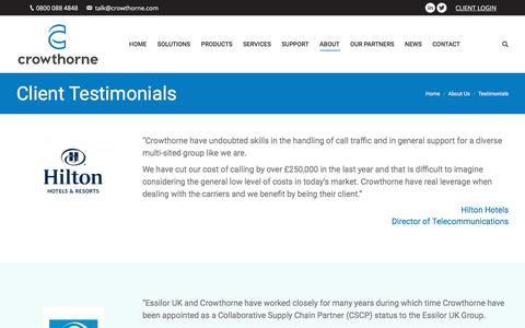 Screenshot of Testimonials Page crowthorne.com - Client Testimonials - captured July 23, 2018