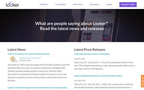 Screenshot of Press Page looker.com - News | Looker - captured Aug. 19, 2016