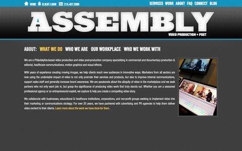 Screenshot of About Page assemblypix.com - Assembly - Philadelphia Area Video Production + Video Post-Production Company - captured Oct. 4, 2014