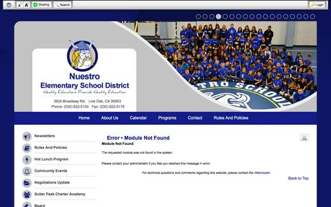 Screenshot of Login Page nuestroschool.org - Error • Module Not Found - Nuestro ESD - captured June 19, 2016