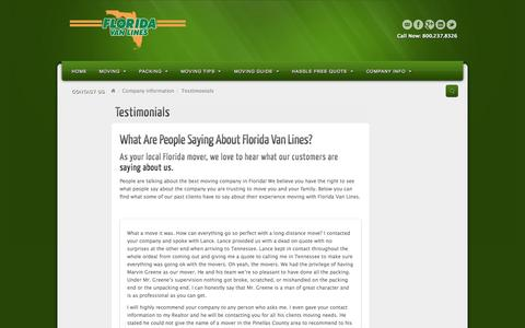Screenshot of Testimonials Page flvanlines.com - Testimonials - Florida Van Lines - captured Oct. 8, 2014
