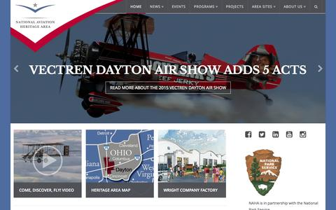 Screenshot of Home Page aviationheritagearea.org - National Aviation Heritage Area - Come. Discover. Fly! - captured Jan. 26, 2015