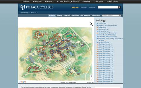 Screenshot of Maps & Directions Page ithaca.edu - Campus Map - captured Oct. 15, 2017