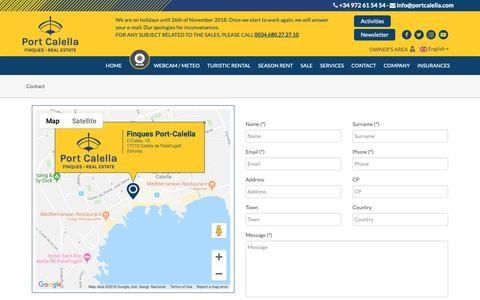 Screenshot of Contact Page portcalella.com - Contact :: Finques Port Calella - captured Oct. 22, 2018