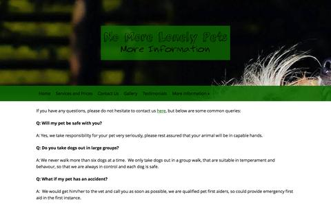 Screenshot of FAQ Page nomorelonelypets.co.uk - No More Lonely Pets are pet sitters and dog walkers in the Ashdown Forest Area serving Forest Row, Hartfield, Coleman's Hatch, Sharpthorne, Danehill, Horsted Keynes and surrounding villages - captured Oct. 26, 2014