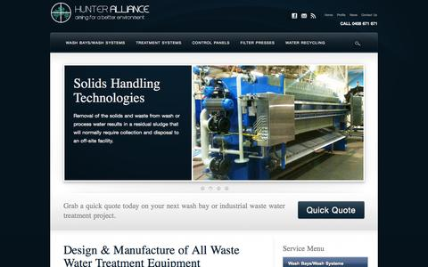 Screenshot of Home Page hunteralliance.com.au - Hunter Alliance – Waste Water Systems – Wash Bays – Water Treatment – Water Recycling – Industrial Water Treatment - captured Jan. 26, 2015