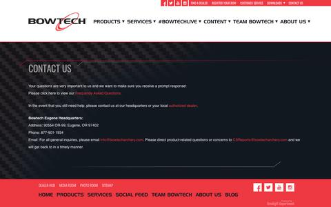 Screenshot of Contact Page bowtecharchery.com - Bowtech Customer Service - captured June 2, 2017