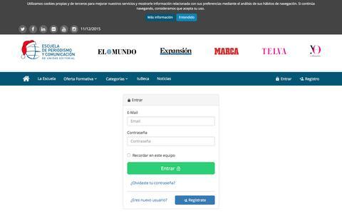 Screenshot of Login Page escuelaunidadeditorial.es - Iniciar Sesión | Escuela de Periodismo y Comunicación de Unidad Editorial - captured Dec. 10, 2015