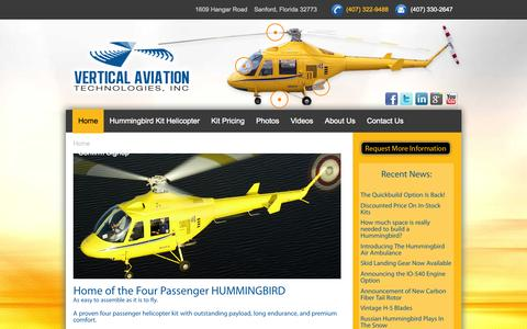 Screenshot of Home Page vertical-aviation.com - Hummingbird Helicopter - captured Oct. 10, 2015