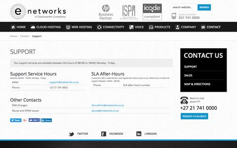Screenshot of Support Page enetworks.co.za - eNetworks Support | Contact Us - captured July 24, 2018