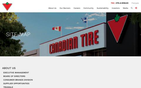 Screenshot of Site Map Page canadiantire.ca - Canadian Tire Corporation, Limited - Site Map - captured Oct. 10, 2018