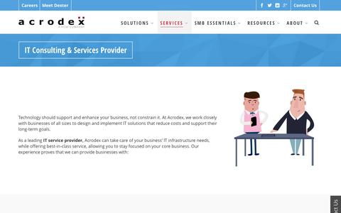 Screenshot of Services Page acrodex.com - IT Consulting - Service Provider | Acrodex Inc. - captured July 24, 2016
