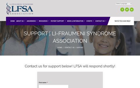 Screenshot of Support Page lfsassociation.org - Support | Li-Fraumeni Syndrome Association - captured Sept. 25, 2018