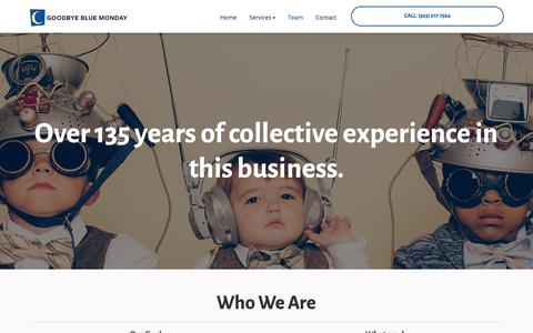 Screenshot of Team Page goodbyebluemonday.com - Screen Printing - Get To Know Our Team In Boulder | Goodbye Blue Monday - captured Sept. 29, 2018