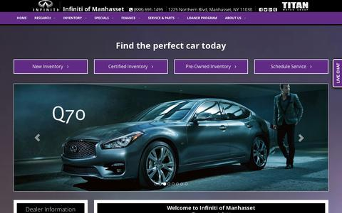 Screenshot of Home Page infinitiofmanhasset.com - Infiniti of Manhasset Manhasset | Infiniti Dealer Manhasset, Manhasset New York | New Cars, Used Car Dealership - captured Jan. 8, 2016