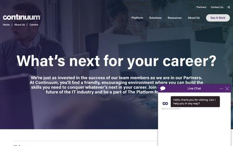 Screenshot of Jobs Page icims.com - Careers | Continuum - captured May 8, 2019