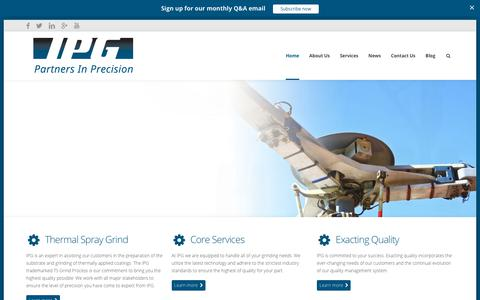 Screenshot of Home Page indianaprecisiongrinding.com - Home - IPG - Partners In Precision - captured Sept. 13, 2018