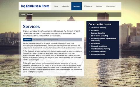 Screenshot of Services Page tkhllp.com - Services - Top Kohlbush & Hoem - captured Oct. 7, 2014