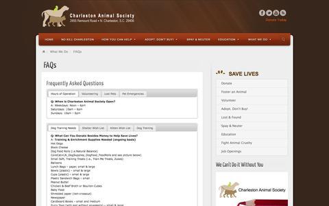 Screenshot of FAQ Page charlestonanimalsociety.org - FAQs - Charleston Animal Society - captured Sept. 25, 2014