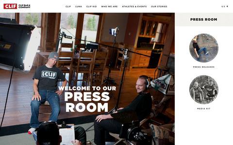 Screenshot of Press Page clifbar.com - Press Room - captured Dec. 17, 2016