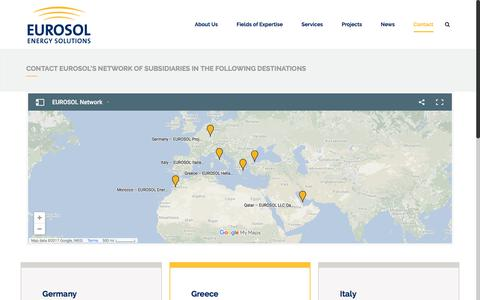 Screenshot of Contact Page eurosol.eu - EUROSOL Contact Eurosol's network of subsidiaries in the following destinations - EUROSOL - captured Aug. 30, 2017