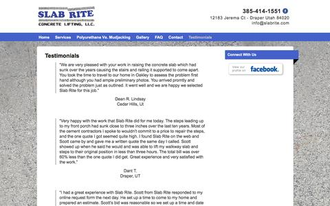 Screenshot of Testimonials Page slabrite.com - Best Concrete Lifting in Utah - captured Feb. 22, 2016