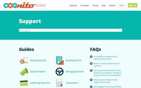 Screenshot of Support Page cognitoforms.com - Support - Cognito Forms Support - captured April 16, 2018