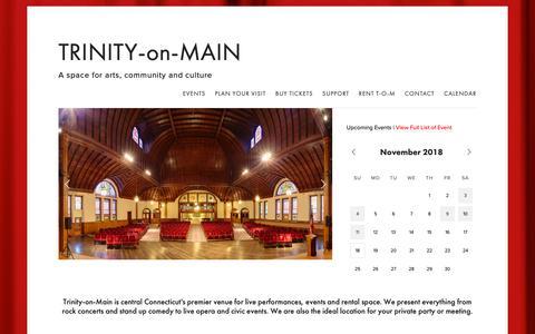 Screenshot of Home Page trinityonmain.org - TRINITY-on-MAIN - captured Nov. 19, 2018