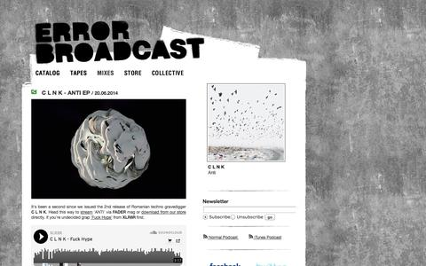 Screenshot of Home Page error-broadcast.com - Error Broadcast - captured Sept. 30, 2014