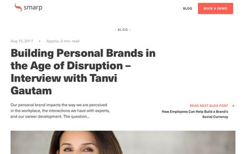 Screenshot of Blog smarp.com - Building Personal Brands in the Age of Disruption – Interview with Tanvi Gautam - captured Nov. 4, 2019