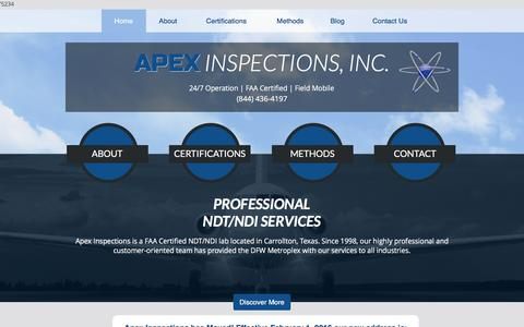 Screenshot of Home Page apexinspections.com - NDT Services, Non-Destructive Testing | Carrollton, TX | Home - captured Feb. 6, 2016