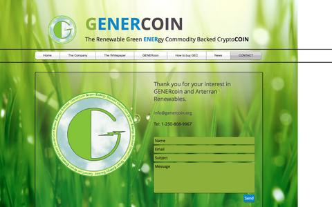 Screenshot of Contact Page genercoin.org - GENERcoin - Green Renewable Energy backed cryptocurrency | CONTACT - captured May 12, 2017