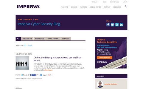 Screenshot of Blog imperva.com - Imperva Cyber Security Blog - captured Nov. 10, 2015