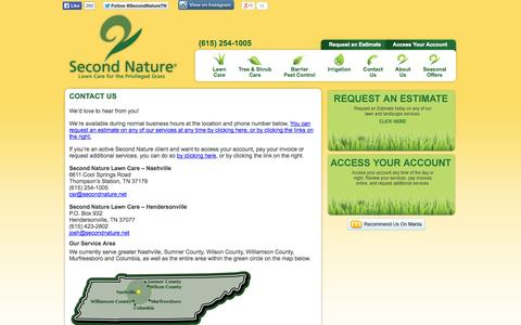 Screenshot of Contact Page secondnature.net - Second Nature Lawn Care – Contact Us - captured Oct. 6, 2014