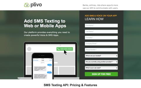 Screenshot of Landing Page plivo.com - Plivo: SMS Text & Voice Calling API - captured Oct. 3, 2016