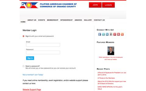 Screenshot of Menu Page faccoc.org - Member Login – FILIPINO AMERICAN CHAMBER OF COMMERCE OF ORANGE COUNTY - captured Nov. 3, 2014