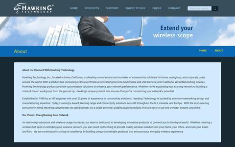 Screenshot of About Page hawkingtech.com - About - Hawking Technology - captured Sept. 27, 2018