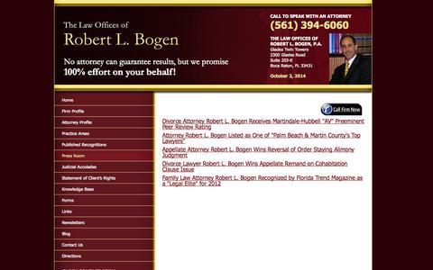 Screenshot of Press Page bogenlaw.com - Boca Raton Family Law Press Room | Press Room of Robert L. Bogen - captured Oct. 2, 2014