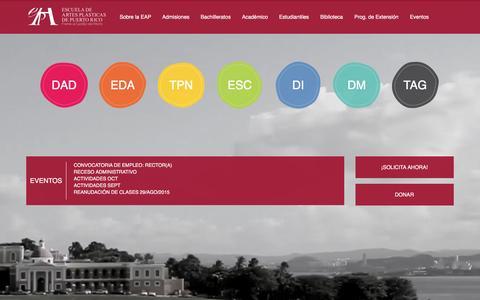 Screenshot of Home Page eap.edu - Escuela de Artes Pl�sticas de Puerto Rico - Inicio - captured Jan. 15, 2016