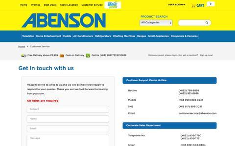 Screenshot of Support Page abenson.com.ph - ABENSON APPLIANCES | Best Brands Best Deals - captured Oct. 30, 2014