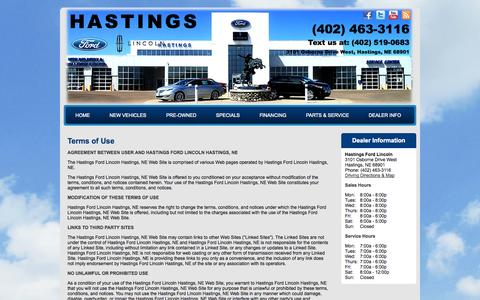 Screenshot of Terms Page hastingsfordlincoln.com - Hastings Ford Lincoln | New & Used Car Dealer Hastings, NE - captured Oct. 27, 2014