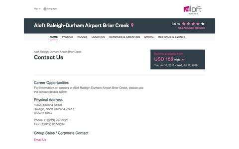 Screenshot of Contact Page starwoodhotels.com - Contact Us | Aloft Raleigh-Durham Airport Brier Creek - captured July 10, 2018