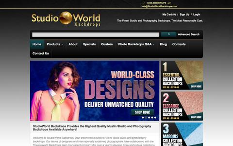Screenshot of Home Page studioworldbackdrops.com - Muslin Studio & Photo Backgrounds | StudioWorld Backdrops - captured Sept. 19, 2014