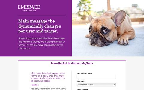 Screenshot of Landing Page embracepetinsurance.com - Embrace Pet Insurance | Experience Better Pet Insurance with EMBRACE - captured April 7, 2016